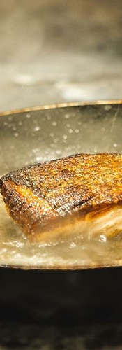 Our pan roasted salmon fillet in action.