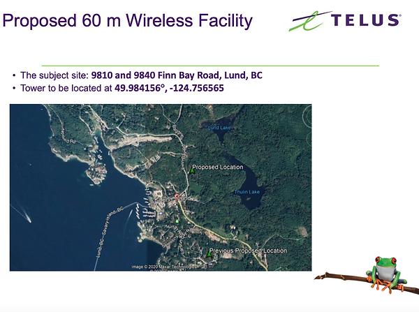 Telus Tower Location Finn Bay Rd