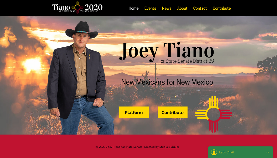 Joey Tiano for NM State Senate Website