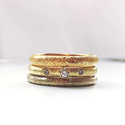 stacking rings in recycled 9ct 18ct and 22ct gold