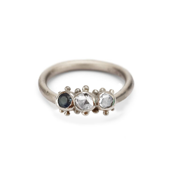 Granulated Sapphire & Diamond Ring