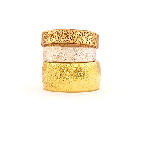 Wide sand cast ring in recycled 9ct gold