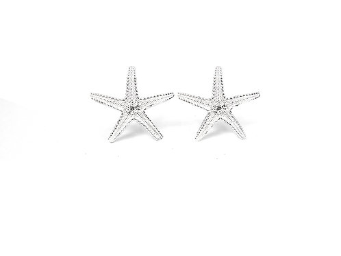 Silver Starfish Ear Studs