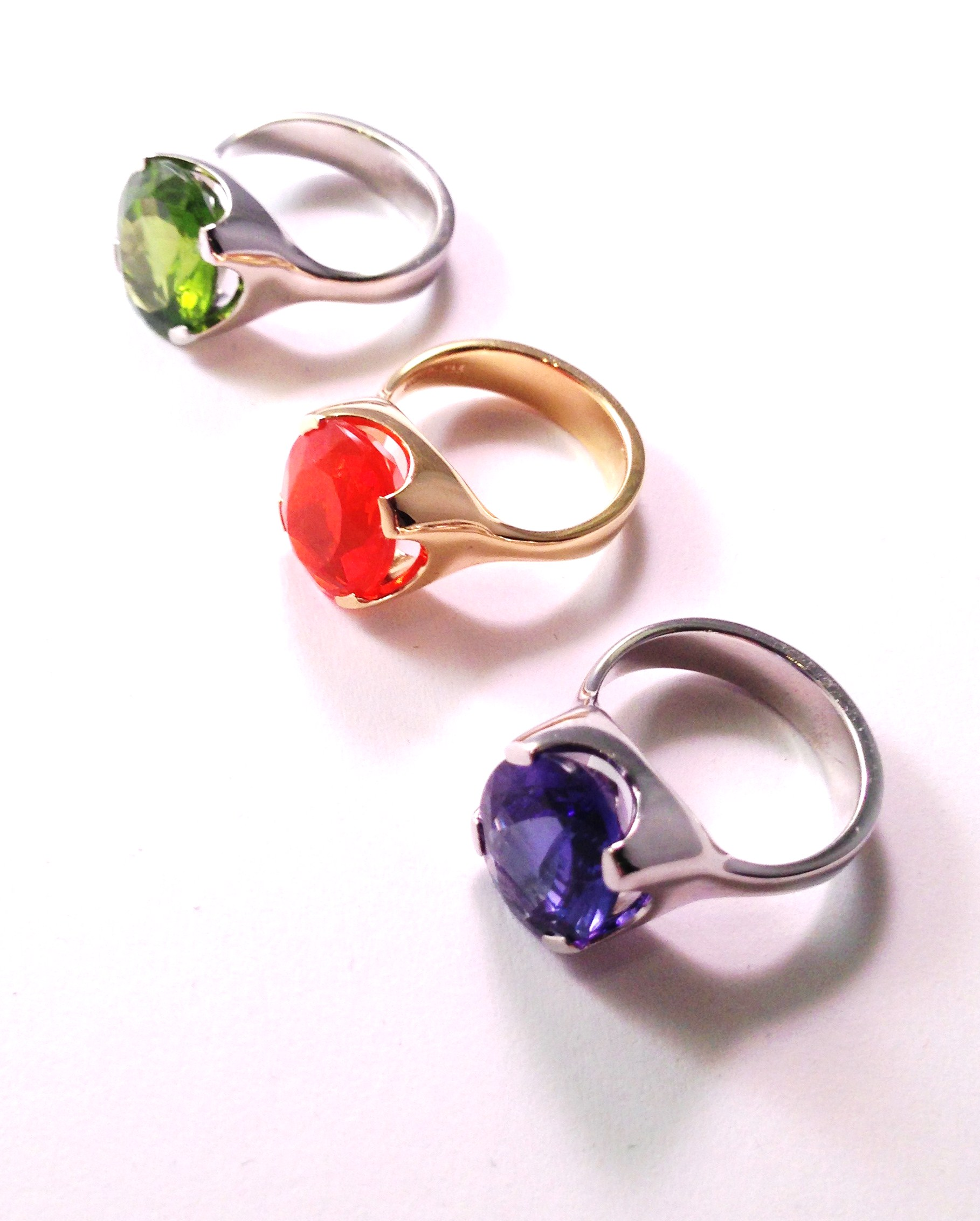 Tanzanite, Peridot, Fire Opal rings
