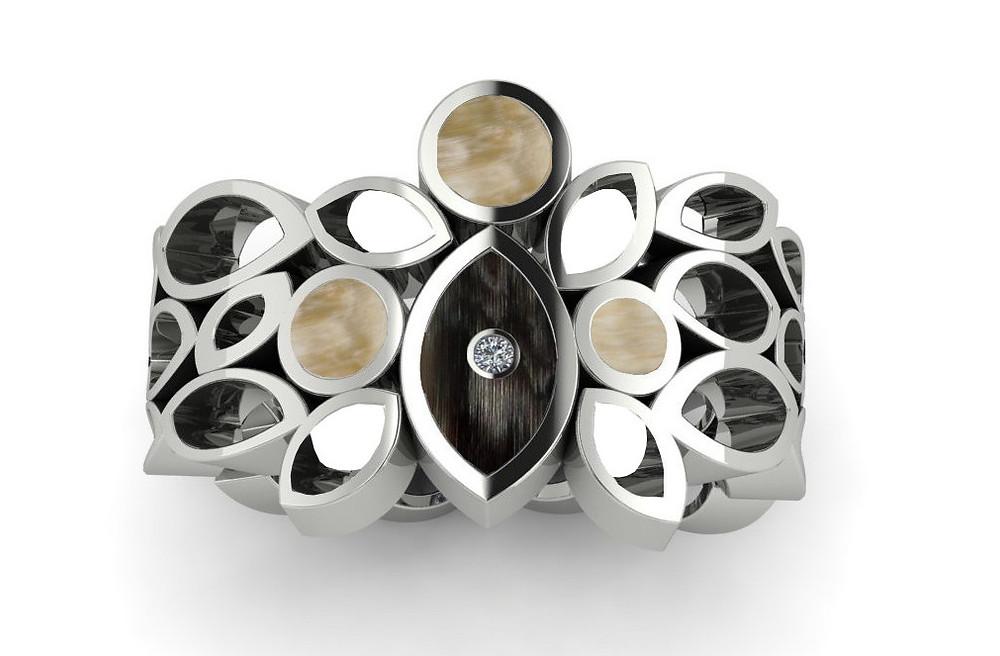 diamond pierced horn ring