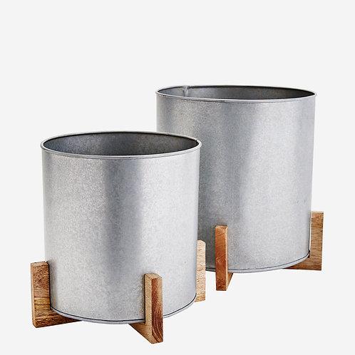 Cache-Pot métal et bois
