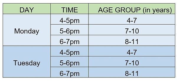 Drama club Weekly Timetable in Twickenham