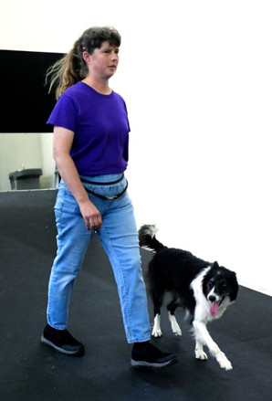Meg following closely off leash.