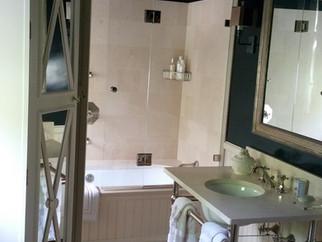 Quatrafoil Window, Linen Closet, Lovely Bath!