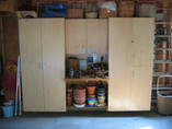 Garage Workbench, Cabinets, and Recycling Center