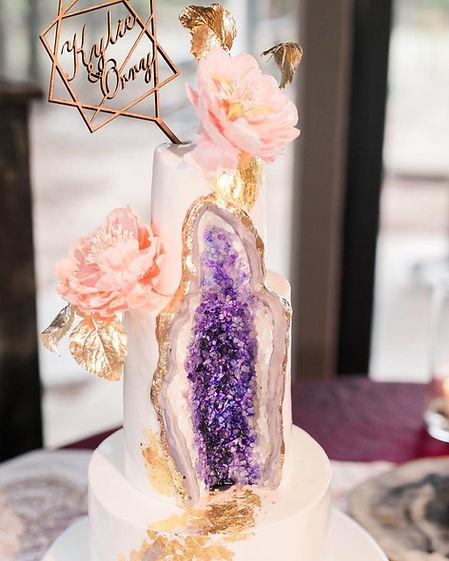 custom Amethyst Geode Dallas Wedding Cake
