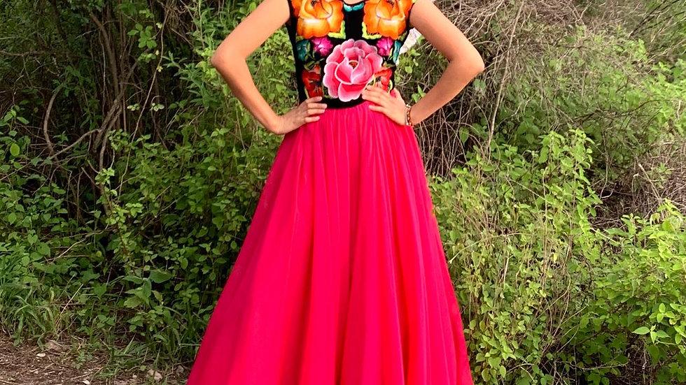 vestido rosa mexicano con olán en escote de espalda