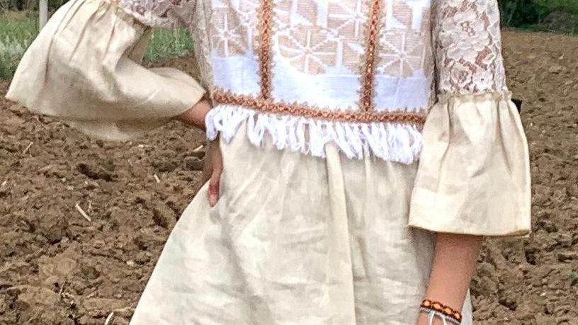 Blusa beige de la costa de Oaxaca