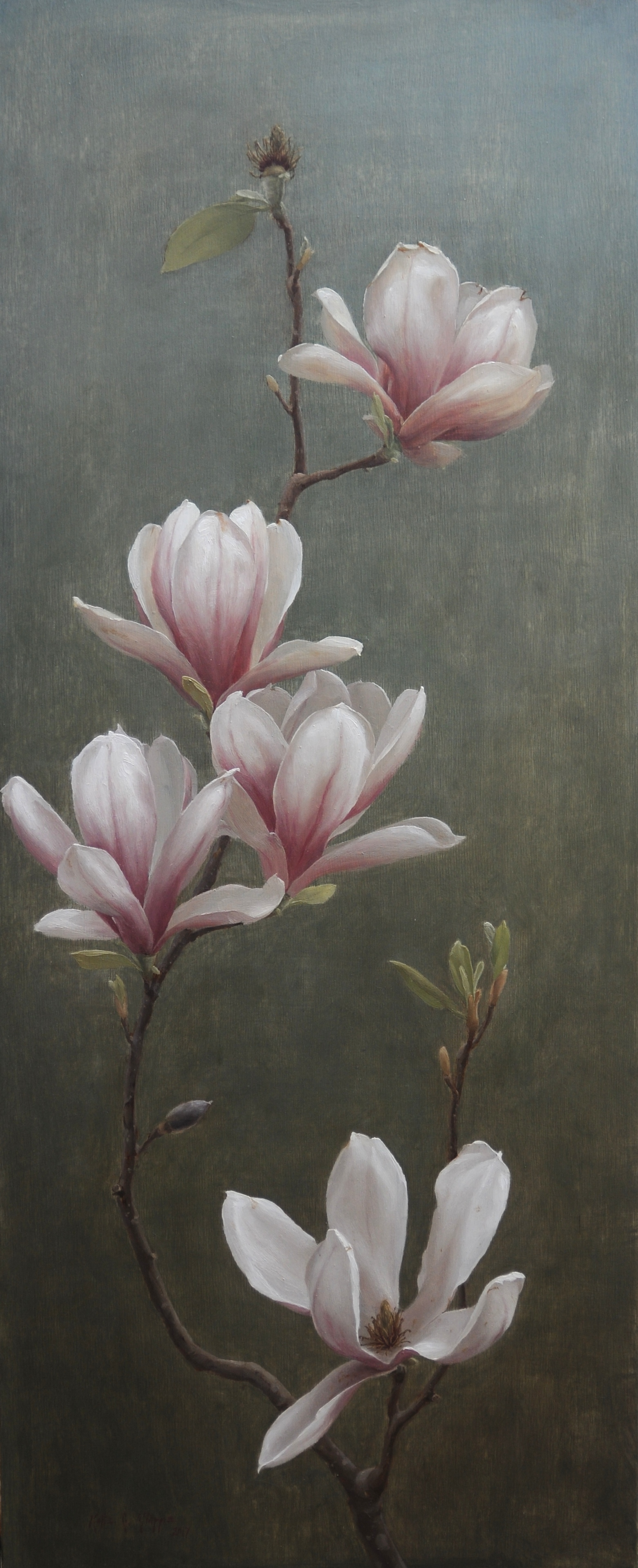 Magnolia, oil on wood, 30_x12