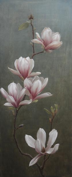 Magnolia, oil on wood, 30_x12