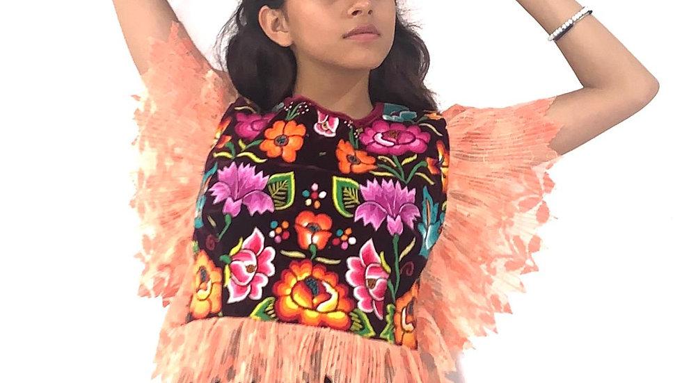 Blusa de olán alrededor con huipil del Istmo de Tehuantepec bordado a mano