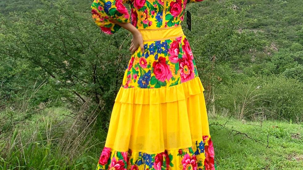 Vestido amarillo de Pañoleta de San Bartolomé Quialana