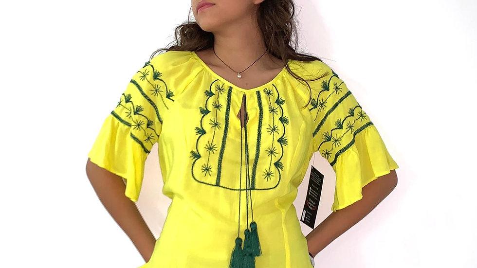 Blusa amarilla con bordado estilo Tlahuiltoltepec
