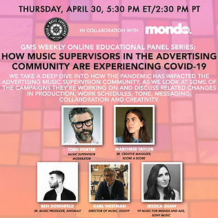 Guild of Music Supervisors Weekly Panel Covid Ad Music Thursday 4/30/20