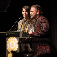 Amine Ramer and Evyen Klean Accepting their award at the 9th Annual GMS Awards