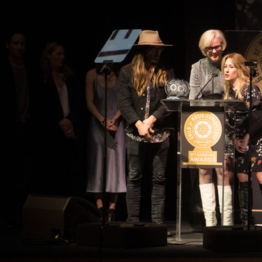 Lukas Nelson Julianne and Julia Michels Accepting their award at the 9th Annual GMS Awards