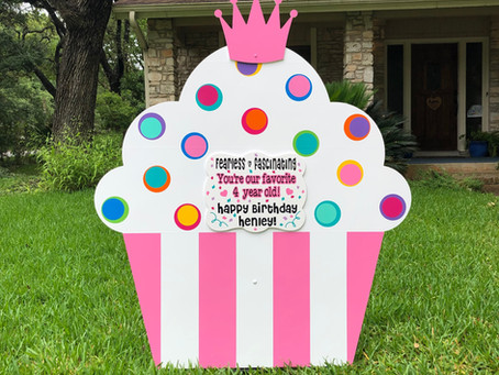 Welcome:  New Pink & White Striped Cupcake added to our Sign Rental Boutique!!!