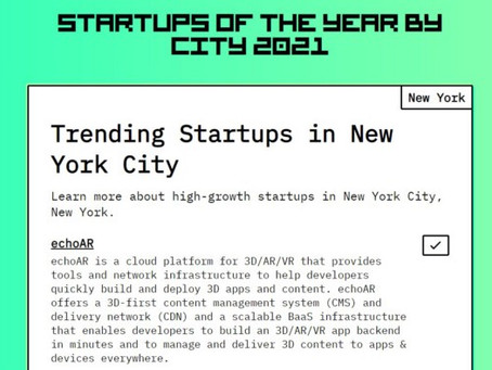 """echo3D (formerly echoAR) nominated """"One of the Best Startups in NYC"""" — VOTE NOW!"""