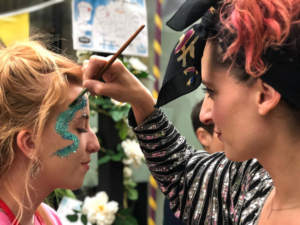 Sophie Awdry, Eco Glitter Funs Co-Founder and Head Glitter Artists, delivering the guilt-free sparkles at Deccas 90th Birthday Bash