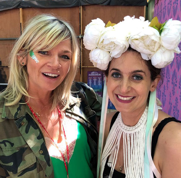 Jo Wiley gets her Eco Glitter on with Eco Glitter Funs' co-founder Sophie Awdry.