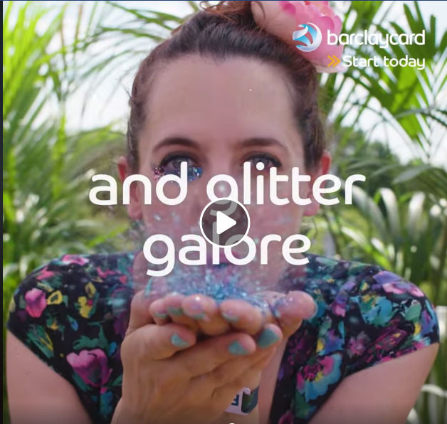Eco Glitter Fun co founder Sophie, spreads Eco Glitter at Barclays BST in Hyde Park
