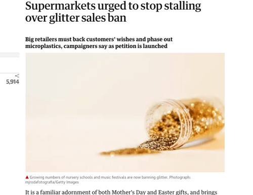 Eco Glitter Fun supports Supermarkets plastic glitter sales ban