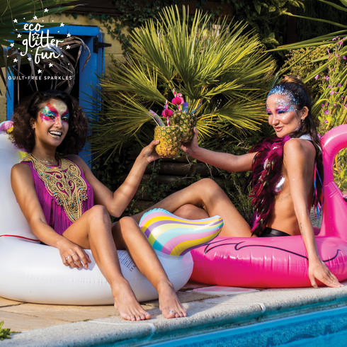 Eco glitter makeup ideas for pool party