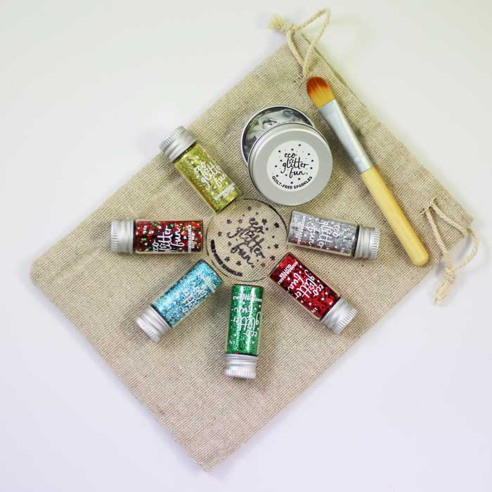 Christmas set of eco glitters in a bag, vegan and eco friendly.