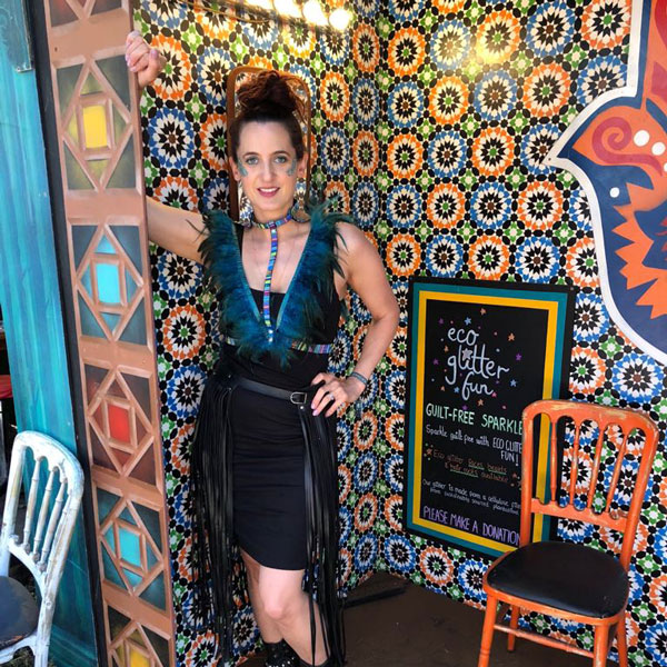 Co-Founder Sophie Awdry at Latitude festival, delivering guilt free sparkles.