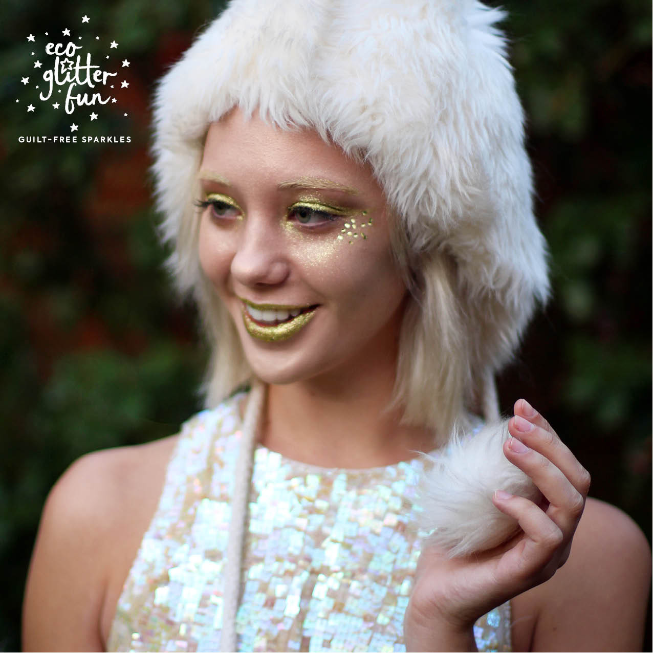 Golden Goddess with gold glitter eyes from Eco Glitter Fun and Beyond Retro outfit.