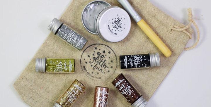 metallic set of biodegradable glitter