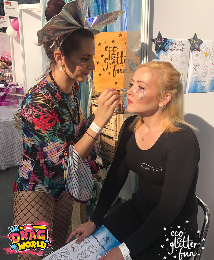 EcoGlitterFun Glitter Makeup artists and co-founders spread biodegradable glitter at Dragworld UK