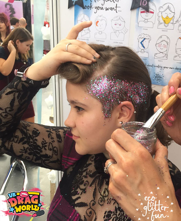 EcoGlitterFun Glitter Makeup artists and co-founders spread biodegradable glitter hair at Dragworld UK
