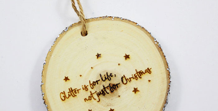 """Wooden """"Glitter for life"""" Christmas Decoration (Silver)"""