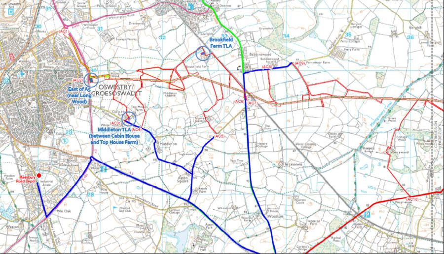 Map of the construction access routes to the Overhead Line Corridor