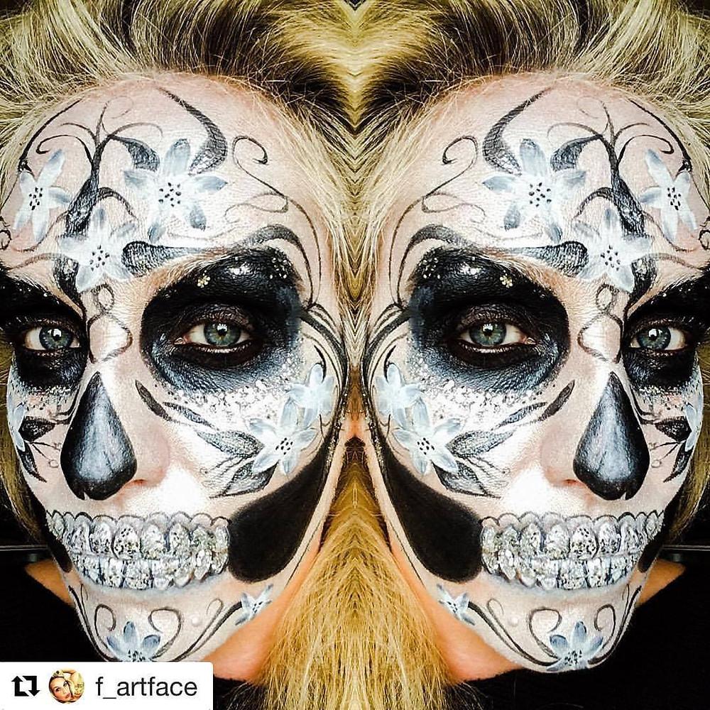Glitter skull makeup for halloween using Eco Glitter