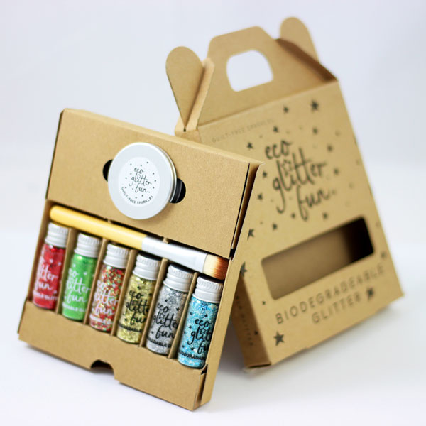 Eco Glitter Fun's biodegradable glitter sets, suitable for face, body and crafts.
