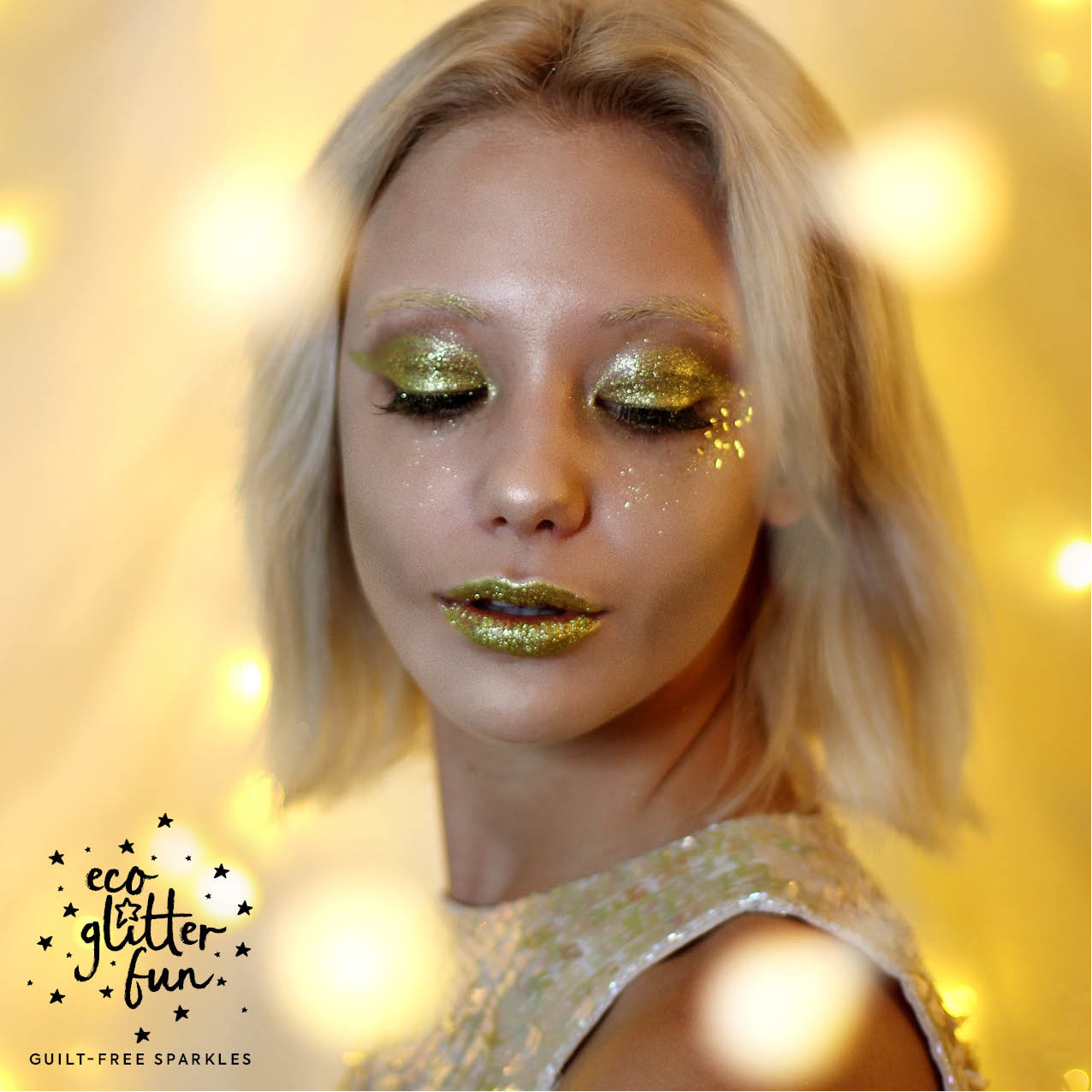 Golden Goddess with gold glitter eyes from Eco Glitter Fun