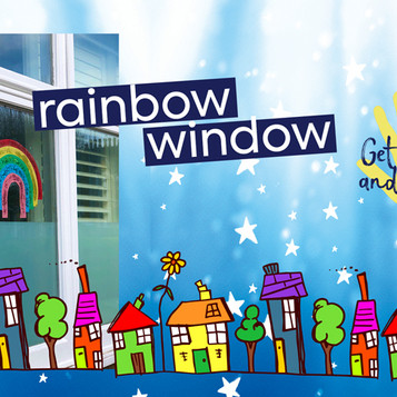 Glitter Rainbows in windows spread hope and joy in the community