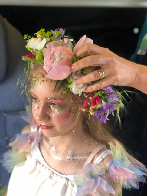 Eco Glitter makeup being applied to the Fairy outfit