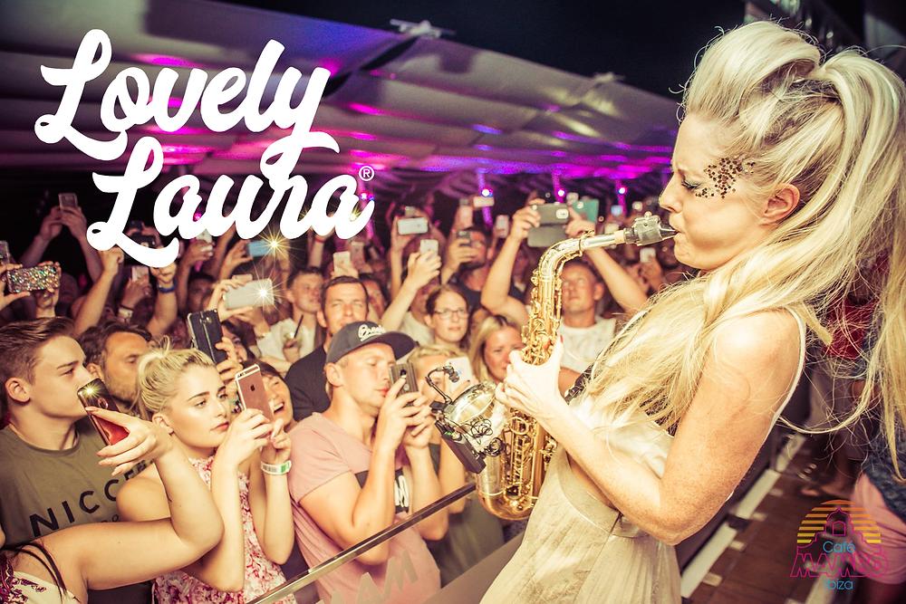 Lovely Laura, Global Brand Ambassador of Eco Glitter Fun shows off her saxophone skills