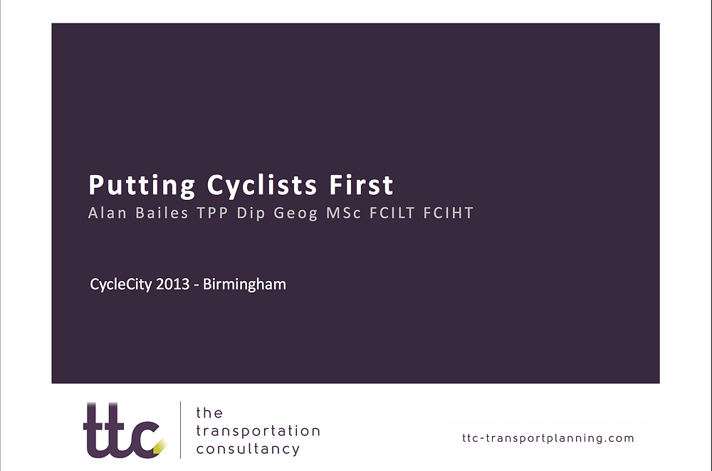 Download Putting Cyclists First Presentation by ttc transport planning consultants