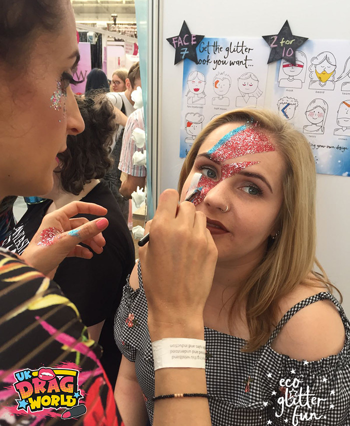 EcoGlitterFun Glitter Makeup artists and co-founders spread biodegradable glitter makeup designs at Dragworld UK