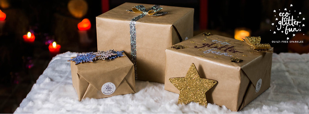 spread eco glitter on your christmas wrapping