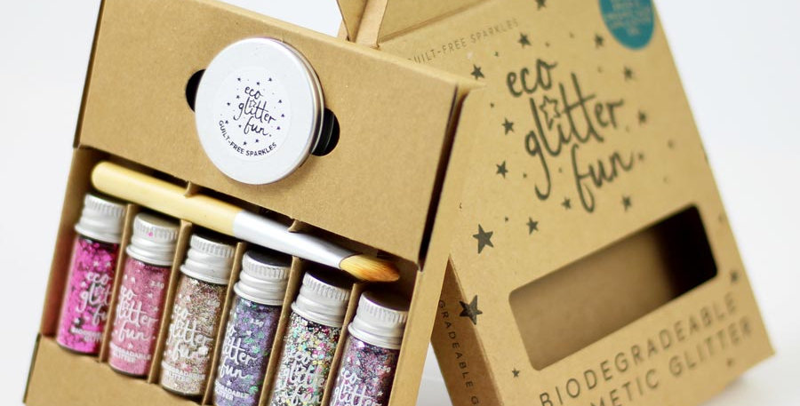 Boxed pinky kit of biodegradable glitter